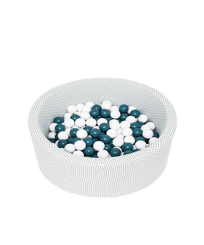 Suchy basen z piłeczkami Okrągły Pawie Piórka Miętowy 90x40 MISIOO