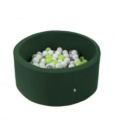 Suchy basen z piłeczkami Okrągły Smart Zielony Ciemny 90x30 MISIOO