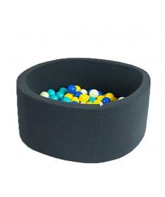 Suchy basen z piłeczkami Okrągły Smart Grafitowy 100x40 MISIOO