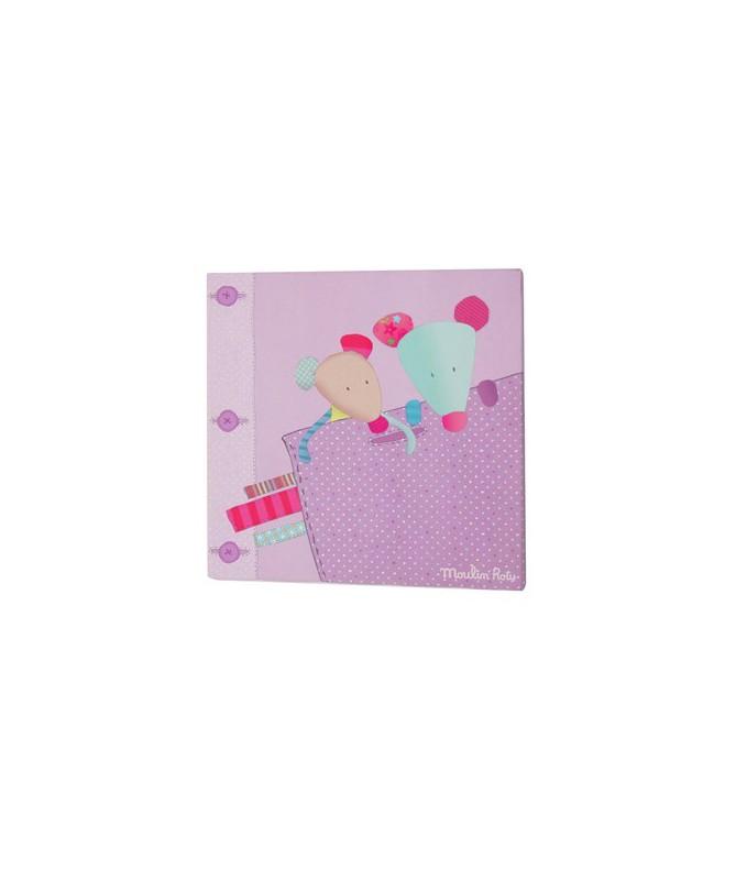 Obrazek materiałowy, różowy