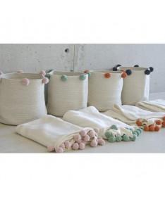 Koc bawełniany Natural - Terracota, 100% bawełna 120x180cm,  Lorena Canals