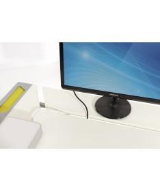 Biurko Tablo kredowo-białe, dodatki lazurowy niebieski PAIDI