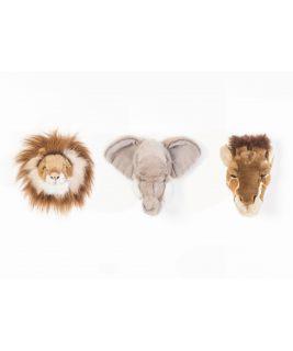 Zestaw 3 małych trofeów Safari Lew Słoń Żyrafa, Wild&Soft