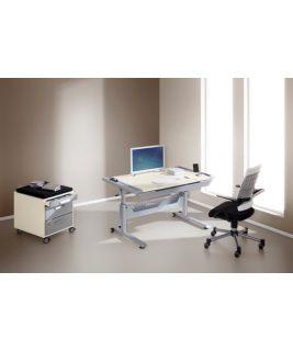 Kontenerek do biurka Tablo, fronty  koloru srebnego,obudowa laminat ecru, poduszka do kupienia osobno