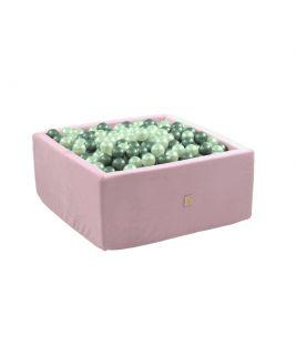 Suchy basen z piłeczkami Kwadrat VELVET Różowy MISIOO