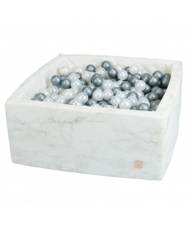 Suchy basen z piłeczkami Kwadrat VELVET Biały marmurek MISIOO