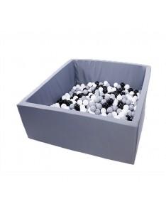 Suchy basen z piłeczkami Kwadrat 110x110x50 Active Grafitowy MISIOO