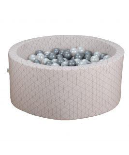 Suchy basen z piłeczkami Okrągły Geometryczny Pudrowy 90x40 MISIOO
