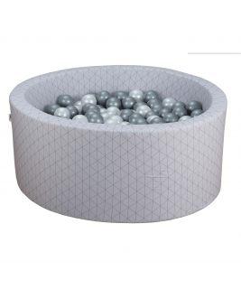 Suchy basen z piłeczkami Okrągły Geometryczny Jasny Szary 90x40 MISIOO