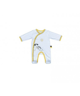 Pajacyk biało-szary - noworodek PLUCHE ET POMPON