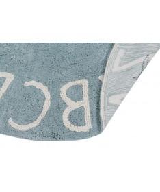 Dywan ABC Vintage Blue Natural  100% bawełny, do prania w pralce, fi 150 cm, Lorena Canals