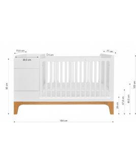 Łóżeczko 70x120 + transformacja - biały/dąb UP! Bellamy