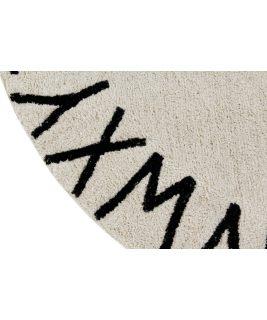 Dywan ABC Natural Black  100% bawełny, do prania w pralce, fi 150 cm, Lorena Canals