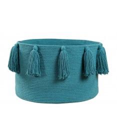 Kosz Basket Tassels Petroleum, 100% bawełna 30x45x45cm,  Lorena Canals
