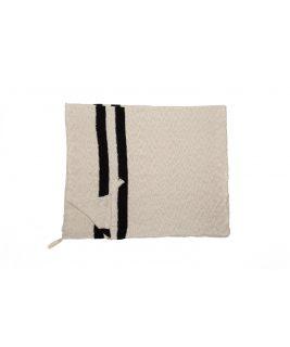 Dziergany koc Stripes Natural/Black, 100% bawełna 125x150cm,  Lorena Canals