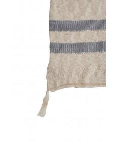 Dziergany koc Stripes Natural/Grey, 100% bawełna 125x150cm,  Lorena Canals