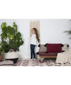 Dziergany koc Stripes Natural/Burgundy, 100% bawełna 125x150cm,  Lorena Canals