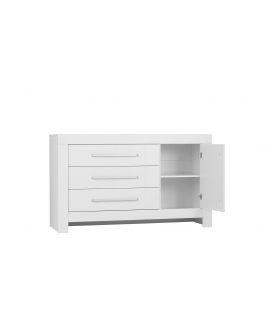 Biała Komoda 3-szuflady + 1 drzwi