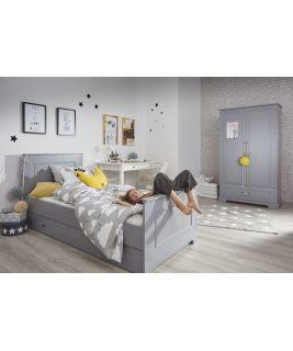 Łóżko 90x200 z szufladą INES NEUTRAL GREY Bellamy