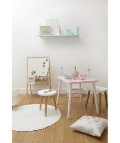 Taboret kwadratowy dziecięcy AURORA MoonWood dąb/biały/grafit/szary